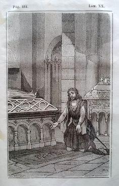 El Señor de Bembibre. Por Enrique Gil y Carrasco - (1844) Lámina XX ... Arrodillose sobre la sepultura y en oracion ferviente pasó mas de una hora  ...