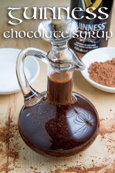 Guinness Chocolate Syrup - Topping for cake, cheesecake and other sweets. 1 cup Guinness or other Irish stout, 2 cups sugar, 1 cup cocoa powder, 1 tsp vanilla extract, 1/8 tsp salt. Bring everything to a boil, reduce the heat and simmer to thicken, about 5 minutes. Let cool and enjoy!