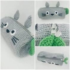 When I took one of the very fi Totoro Crochet, Kawaii Crochet, Crochet Patterns Amigurumi, Cute Crochet, Crochet For Kids, Knitting Patterns, Crochet Pencil Case, Diy Pencil Case, Crochet Case