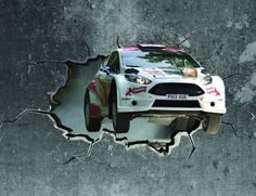 Rally Car Cracked Wall Effect Sticker Mural Decal Graphic Wall Art Boys Bedroom Wall Stickers 3d Wall Decals, Removable Wall Stickers, Wall Murals, Cracked Wall, Car Wall Art, Smooth Walls, Dinosaur Design, Graffiti Wall, Rally Car