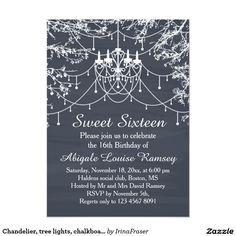 Chandelier, tree lights, chalkboard Sweet Sixteen