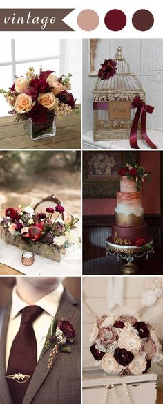 vintage wedding ideas in burgundy color for 2017 fall wedding corsage / fall wedding boutineers / fall wedding burgundy / wedding fall / wedding colors Trendy Wedding, Perfect Wedding, Our Wedding, Dream Wedding, Wedding Vintage, Vintage Theme, Wedding Stuff, 2017 Wedding, Vintage Colors