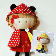 My Teeny Tiny Dolls Reversible Hooded Cape - Red Yellow Mouse Cape