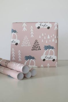 Personalized Gift Wrap, Personalized Wrapping Paper, Custom Gift Wrap, Custom Wrapping Paper, Holiday Gift Wrap, Kids Gift Wrap, Giftwrap This beautiful gift wrap comes with two color options (blue/gray or pink/white) and two different font options (typewriter or script) to make