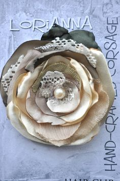 7.99 on ebay!!!  hand-crafted beautiful ivory ecru cream nude silk flower wedding brooch dress pin hair clip corsage 8c