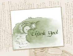 Use for your wedding, birthday, party or every day needs, this Lord of the Rings themed/ Bag End Thank You card is sure to delight all