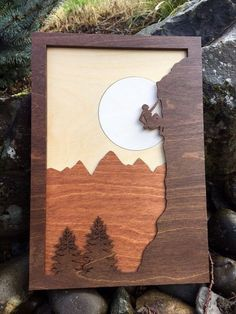 Mountain Climber Laser Cut Shadow Box Wood Scene / Inlaid / Outdoors / Moon / Handcrafted / Mountains and Trees / Nature / Rock Climber - Cutting Edge Wood Creations - Wooden Art, Wood Wall Art, Shadow Box, 3d Laser Printer, Wood Stain Colors, Scroll Saw Patterns, Laser Cut Wood, Laser Cutting, Wood Creations