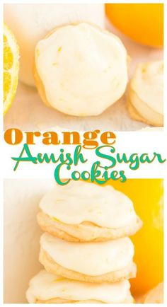 These Iced Orange Amish Sugar Cookies are bursting with orange zest right in the cookie, but also covered in a thick layer of fresh orange icing! Amish Sugar Cookies, Cookies Et Biscuits, Yummy Cookies, Cheese Cookies, Drop Sugar Cookie Recipe, Homemade Cookies, Sugar Cookie Recipe With Orange Juice, Bakery Sugar Cookies Recipe, Vegan Sugar Cookies