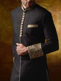 black linen jute Indo-Western suit