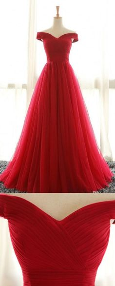 A line Prom Dresses, Red Prom Dresses, Long Prom Dresses With Pleated Sleeveless Floor-length