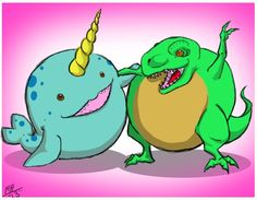 Mini Trex and Narwhal, BFFs! By Macy P. #squishable #plush
