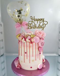 Lots of pink this week. Happy birthday Balloon cake for sister ? Balloon Birthday Cakes, Birthday Drip Cake, Balloon Cake, Happy Birthday Balloons, 21st Birthday Cake For Girls, Elegant Birthday Cakes, Cute Birthday Cakes, Birthday Cake Ideas For Adults Women, Birthday Ideas