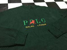 Vintage Polo ralph lauren sweater embroidered logo spell out Size L Good condition by AlivevintageShop on Etsy