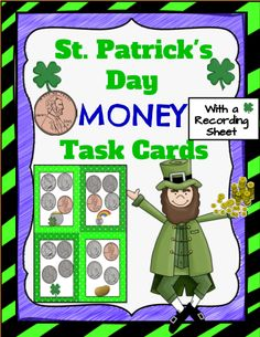 Great editable classroom materials @teachersherpa These St. Patrick's Day Money Task Cards can be placed on desks, in pocket charts or be given to groups that are assigned to a station. There are 20 total task cards in this set. A recording sheet is also included for the students to record their answers.