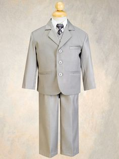 Piece Light Gray Suit with Shirt, Vest, and Tie
