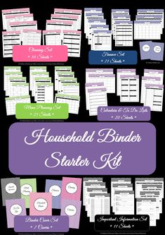 Household Binder Starter Kit - 5 colours available - 6 sets - Meal Planning, Calendars and To Do Lists, Finance Set, Cleaning Set, Important Info & Binder Covers.  Purchase here:  https://www.etsy.com/listing/127670205/household-binder-printables-home-binder?ref=shop_home_active