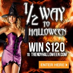 Halfway to Halloween 2015 win $120 voucher to TrendyHalloween.com and stock up on all new Halloween decorations, costumes, accessories. Click to enter #WalpurgisTH