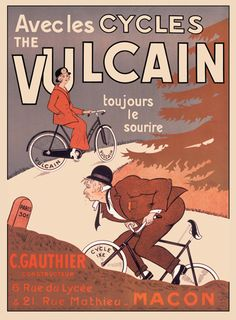 This vertical French transportation poster features a woman on a bike with vulcain tires at the top of a hill and a man struggling on a competitors tires. The beautiful Vintage Poster Reproduction is perfect for an office or living room.