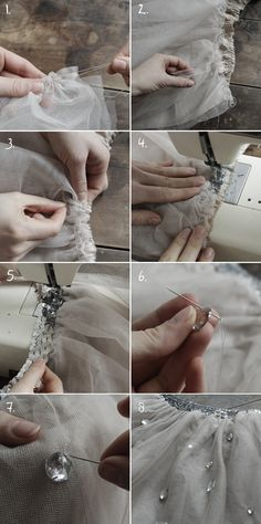 Sewing on gems and sequins.  Tutorial in French and English.