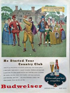 1948 Vintage Budweiser Beer Golf Magazine Advertisement  by Inkart