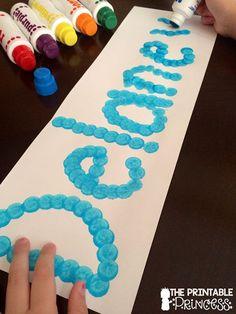 """A fun name activity using bingo dabbers. Write the child's name lightly with a pencil and have students """"dab"""" over it. Great fine motor practice too!"""