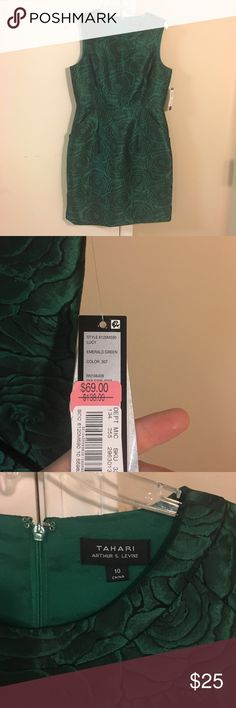 Gorgeous NWT Tahari green shimmery brocade dress So so pretty. Shimmery green fabric, perfect for Christmas parties, too small For me so never worn :( T Tahari Dresses Midi