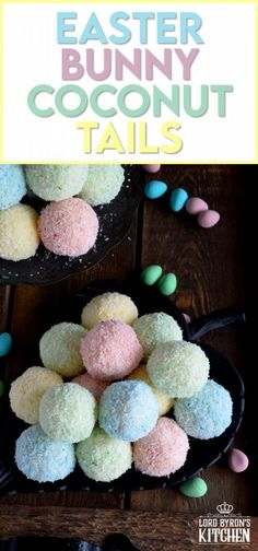 As tasty as they are pretty, Easter Bunny Coconut Tails are a no-bake, easy, kid-friendly recipe! They will love dying the coconut those pastel colours! #easter #bunny #balls #tail #cookies #pastel #nobake Spring Recipes, Easter Recipes, Holiday Recipes, Holiday Drinks, Holiday Treats, Big Chocolate, Chocolate Bunny, Fun Desserts, Delicious Desserts