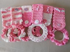 Crocheted Pink Breast Cancer Towel Holders - idea pic