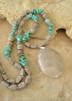 Boho Necklace, Natural Stone Organic Neutral Jewelry, Turquoise Jewelry, Bohemian Style, Boho Chic