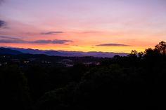 Sunset View at The Crest Center #crestcenter #asheville Taryn & Jeff on Borrowed & Blue.  Photo Credit: Jen Yuson Photography