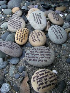 Love this idea:'Chatty's 101 in 1001: #97)Write short gospel verses on ten rocks with sharpies and throw them back on the beach.