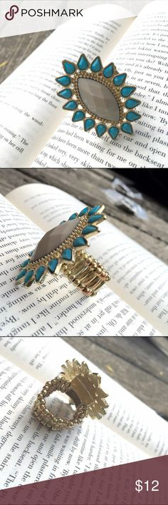 """🎄BUY 2, GET 1 FREE!🎄 Turquoise & Grey Stone Gold Statement Adjustable Ring. Size 7, adjusts to larger sizes. 1.75""""L x 1.25""""W. 🎄BUY 2, GET 1 FREE!🎄Buy any 2 items and get a third item under $12 for FREE! The item of least value will be used as the free item. Add all items to a bundle and make me an offer for the total of the 2 higher priced items only! Jewelry Rings"""