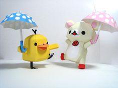 rainy day relax bear papercraft! So cute!