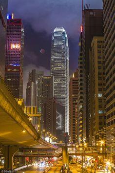 Photograph Blood Moon in Hong Kong by Sean Sun on Hong Kong Night, Nocturne, Hongkong, China Hong Kong, City Aesthetic, Belle Villa, Fantasy Places, Blood Moon, City Landscape