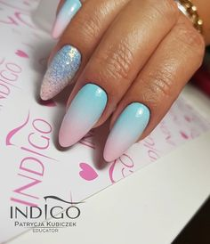 Pastel Nails, Cute Acrylic Nails, Blue Nails, My Nails, Cute Almond Nails, Almond Nail Art, Light Nails, Happy Nails, Dream Nails