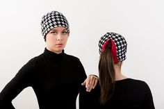 Houndstooth Check Red Ponytail Hat - Order today by visiting: http://www.doohat.com