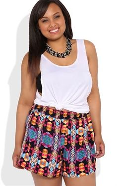 Deb Shops Plus Size Multicolor Neon Woven Short with Elastic Waistband $18.75