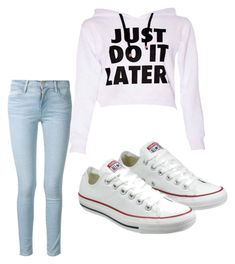 """""""for those lazy days!"""" by brittanie-bullock ❤ liked on Polyvore featuring Frame Denim and Converse"""