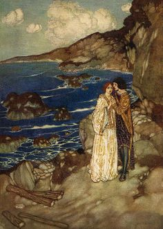 """Edmund Dulac SHAKESPEARE`S COMEDY OF THE TEMPEST (1908) """"Ferdinand:  Here is my hand. Miranda: And mine, with my heart in`t"""""""