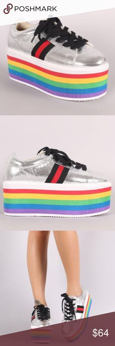 AMAZING SILVER RAINBOW  PLATFORM SNEAKERS (NEW) Be Wild and bold with these rainbow platform sneakers! Arriving July 1st these shoes are a show stopper and sure to sell out so order yours before it's too late! These have a 3 inch platform and run true to size, no half sizes and I also have available in gold .....Tagged GUCCI for views Gucci Shoes Platforms