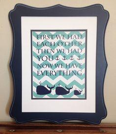 Navy Blue and Aqua Blue Chevron Whale and Anchor by LJBrodock, $10.00 Whale nursery, nautical nursery, nautical bedroom, whales, nursery decor, nursery art