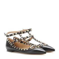 mytheresa.com - Rockstud leather ballerinas - Ballerinas - Shoes - Luxury Fashion for Women / Designer clothing, shoes, bags