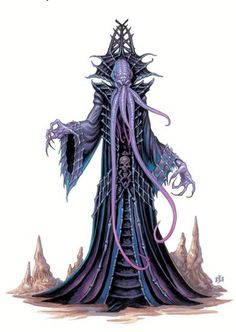 An ulitharid towers over other mind flayers, standing at least nine feet in height. It possesses six tentacles, including two almost as long as its entire body. Its skin is a darker purple than other illithids, and it favors elaborate robes, spreading collars, and often high-crowned headdresses. Ulitharids eclipse common mind flayers in both size and psychic potency, and are viewed almost as minor deities by other illithids.