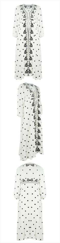 Women's V Neck 3/4 Sleeve Floral Embroidery Maxi Dress.Check more from www.oasap.com .