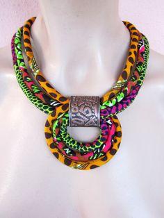 Collar multicolor / africano collar de tela / gargantilla naranja