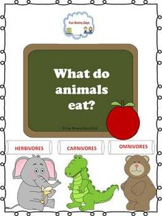 Carnivores, Herbivores and Omnivores This set will help your student understand carnivores, herbivores and omnivores. I included poster , notebook interactive materials and task cards. $6.50