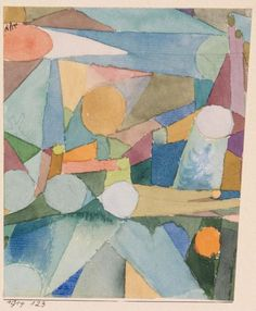 Paul Klee Swiss, 1879–1940 After a Sketch from Zurich (Nach einer Scizze aus Zürich)  1914 Watercolor with graphite underdrawing on wove paper; artist-mounted to paperboard 4 1/2 x 5 1/4 in. (11.4 x 13.3 cm)