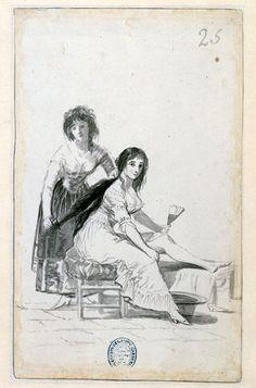 """Dibujo de Goya del Álbum de Madrid. En realidad no podemos afirmar que la mujer peinada sea la Duquesa de Alba pero el cabello sin duda nos la recuerda y es que """"La Duquesa de Alba no tiene un solo cabello que no inspire deseo"""" según el Marques de Langle en su Viaje por Voyage en Espagne. Pero la gran mayoría de las mujeres de los Caprichos de Goya nos la recuerdan."""
