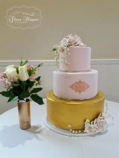 fondant wedding cake with custom monogram logo, edible gold and sugar roses and lily of the valley by Glass Slipper Gourmet Sugar Rose, Sugar Flowers, Gourmet Cakes, Fondant Wedding Cakes, Modern Cakes, Blush And Gold, Glass Slipper, Monogram Logo, Lily Of The Valley