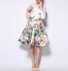 Longitud+De+La+Falda+floral+plisada+Media+de+casualfashion+por+DaWanda.com
